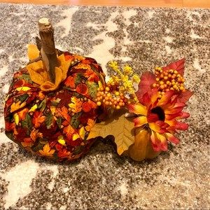 Vintage Handmade Fall Autumn 2 Pumpkins Decor Cozy